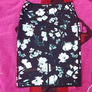 Green & black floral skirt